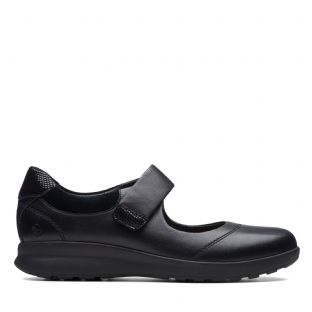 Clarks Un Adorn Strap Black Leather Womens Shoes